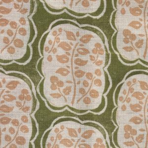 Anna Jeffreys Helene fabric Pink on Green