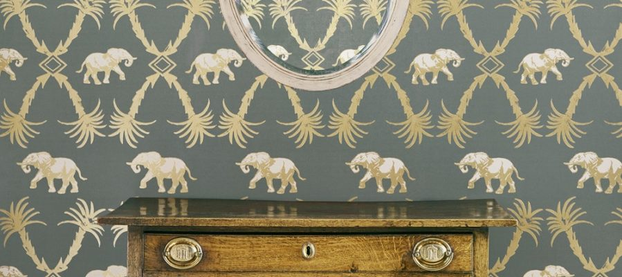 elephant wallpaper barneby gates grey