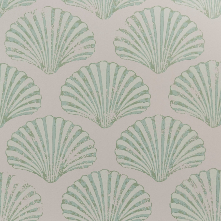 Barneby Gates Scallop Shell wallpaper plaster green
