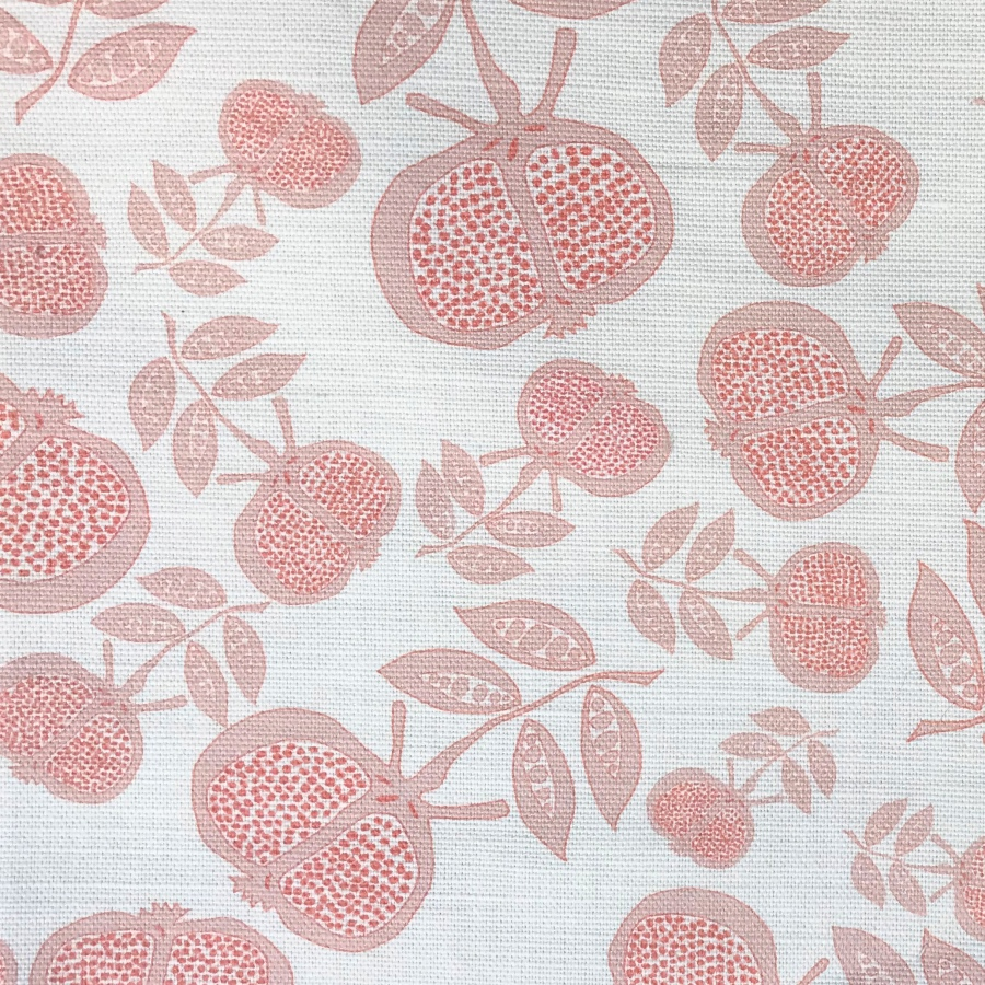 Anna Jeffreys Pomegranate small red pink linen fabric