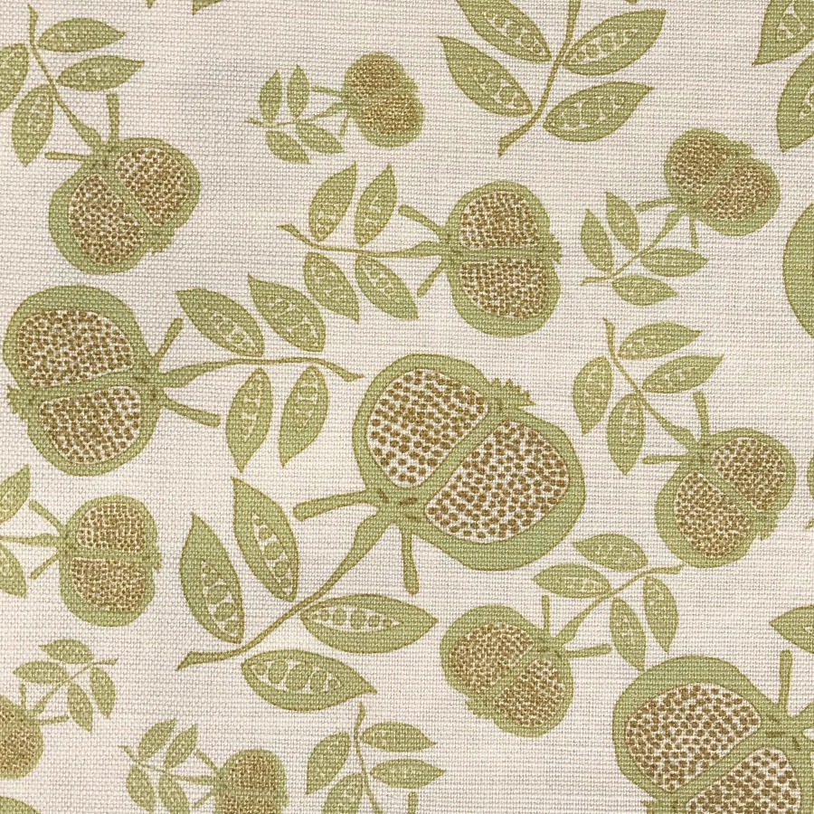 Anna Jeffreys Pomegranate small green linen fabric