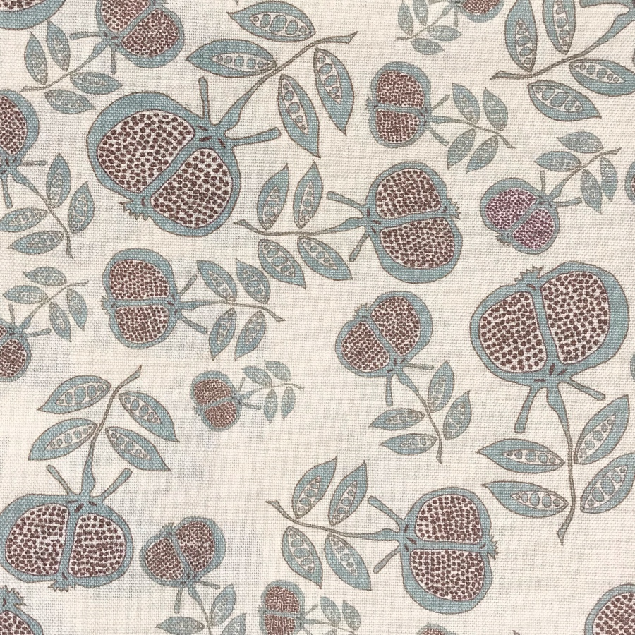 Anna Jeffreys Pomegranate small blue linen fabric