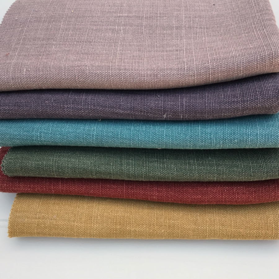 Coloured plain linen fabric
