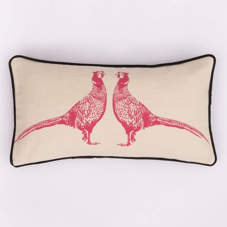 pink pheasant cushion