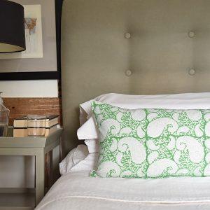 Green Pukka Paisley cushion by Block & Dye