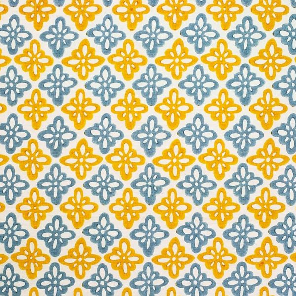 Molly Mahon yellow blue fabric Pattee Turmeric