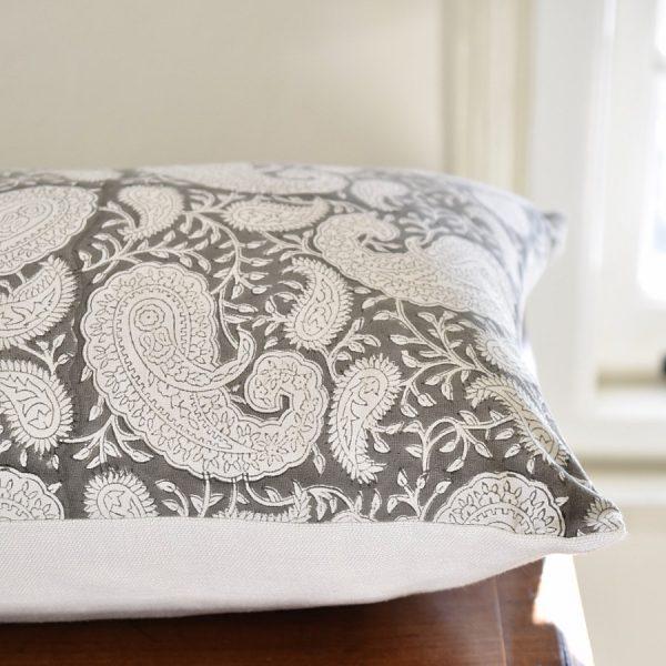 Grey Pukka Paisley cushion by Block & Dye