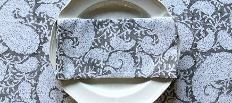 Bark Paisly napkin Block & Dye