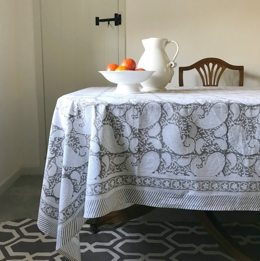 Paisley block print tablecloth Block & Dye