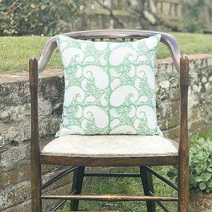 Block & Dye green square block print cushion