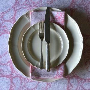 Pink Paisley block print tablecloth Block & Dye