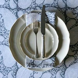 Slate Paisley block print tablecloth Block & Dye