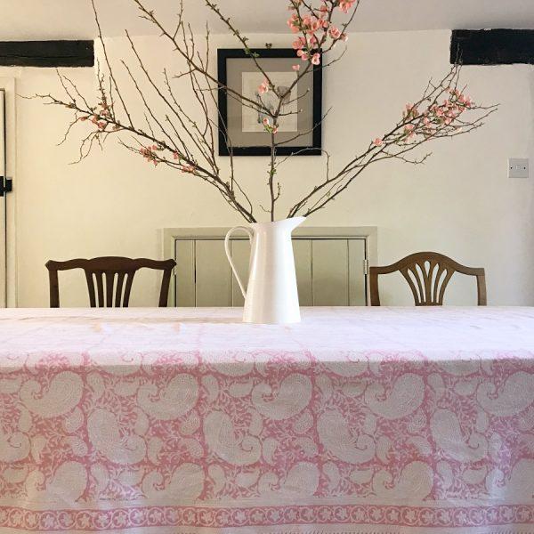 Block & Dye pink block print tablecloth