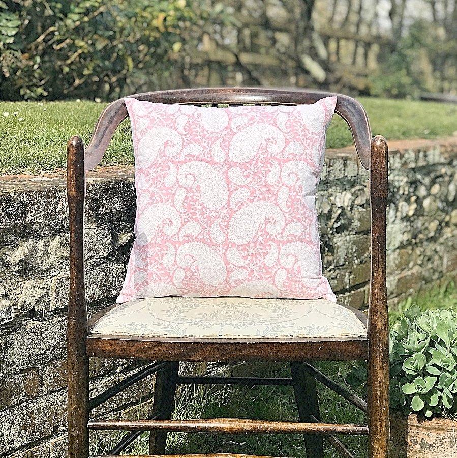Block & Dye pink square block print cushion
