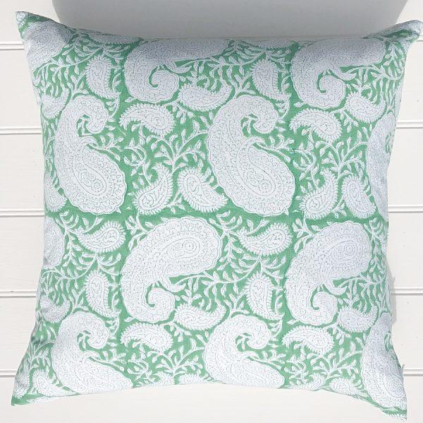 Green square blockprint paisley cushion Block & Dye