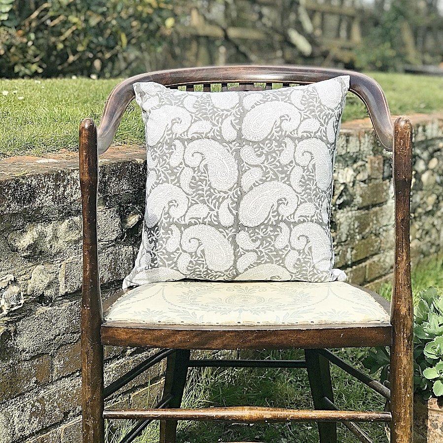Block & Dye grey square block print cushion