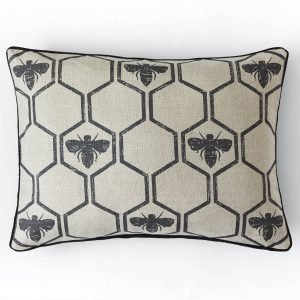 Barneby Gates Honey Bees cushion Charcoal