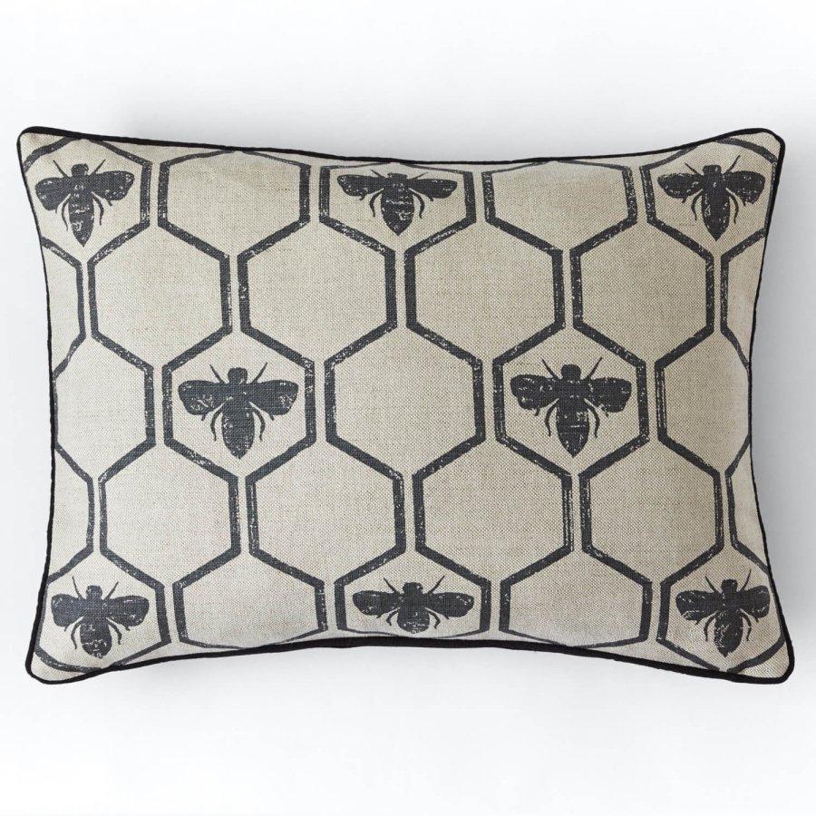 Barneby Gates Honey Bees cushion Charcoal