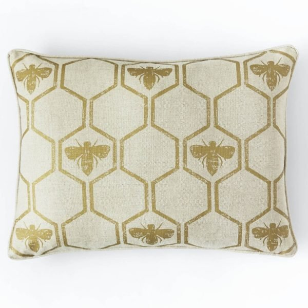 Barneby Gates Honey Bees Gold cushion