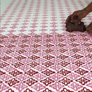 Molly Mahon Pink fabric blockprinting