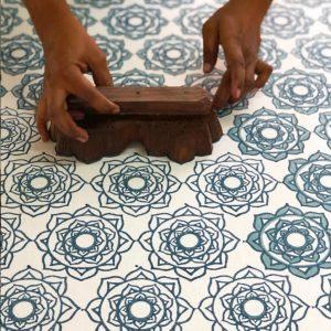 Molly Mahon fabric Rose Blue