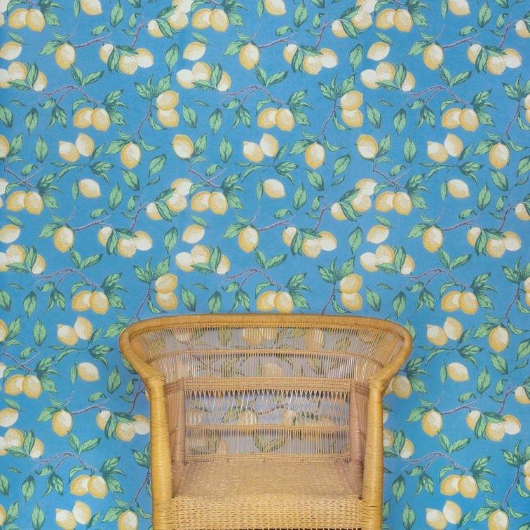Capri Lemons wallpaper Barneby Gates Azure Blue