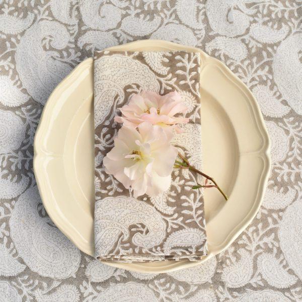 Brown Paisley block print tablecloth Block & Dye