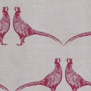 Barneby Gates Pheasant fabric pink on cream