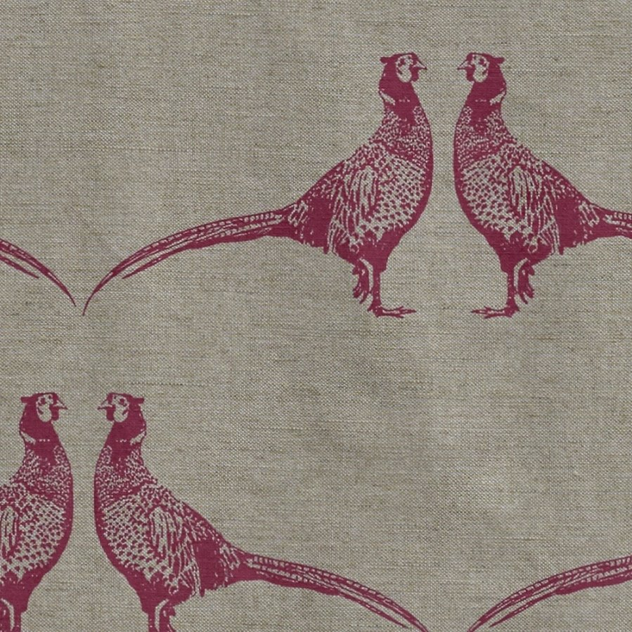 Barneby Gates Pheasant fabric pink on natural