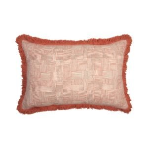 Birdie Fortescue Mishran Crosshatch cushion coral