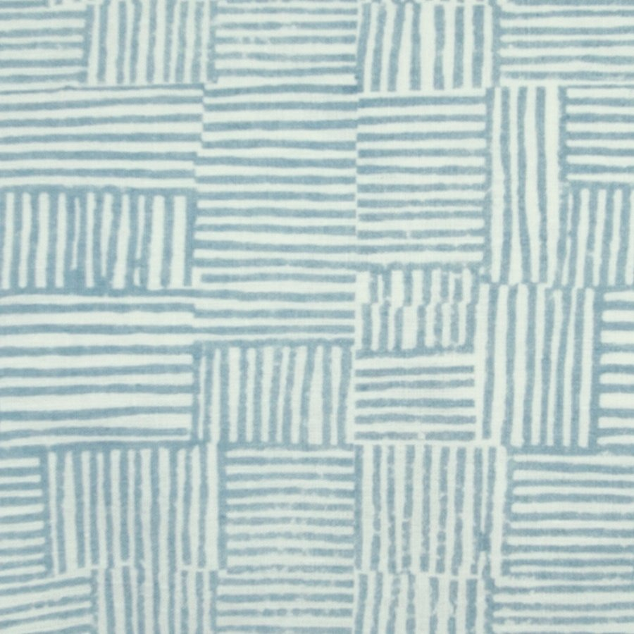 Birdie Fortescue Mishran Crosshatch fabric cerulean