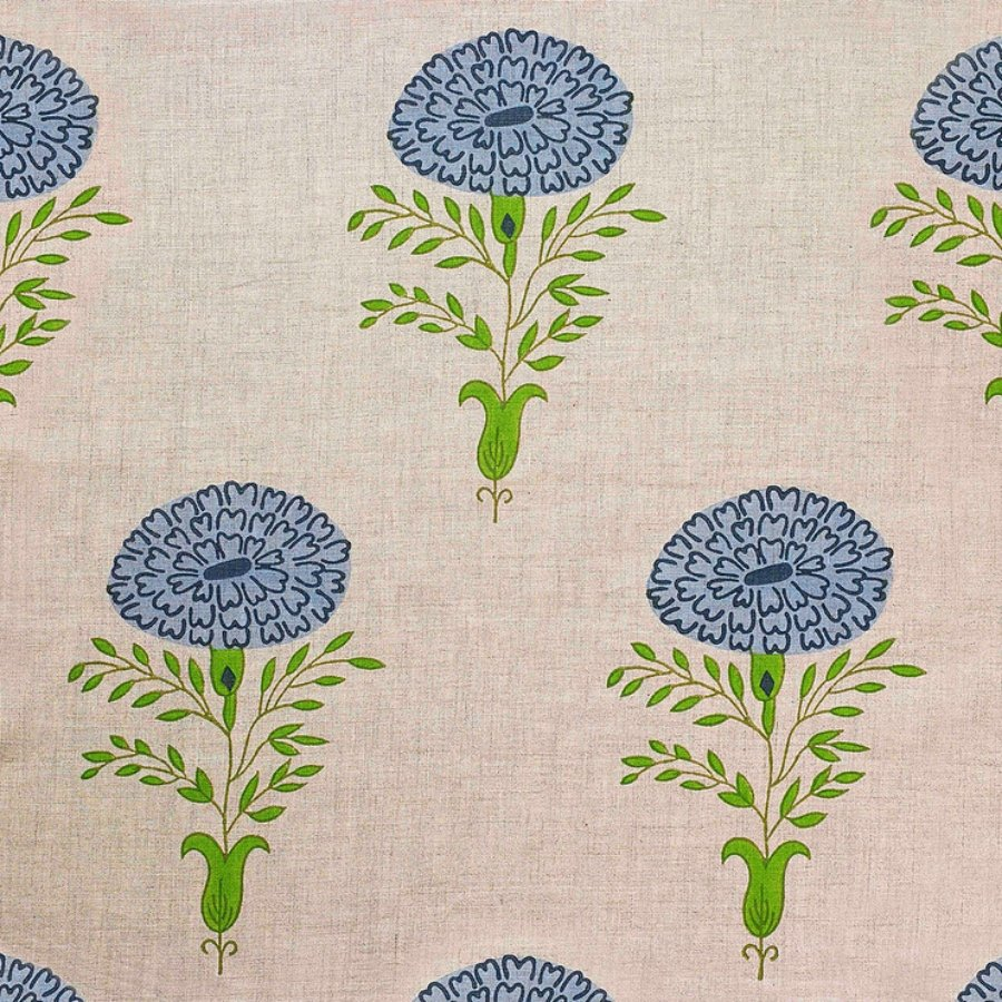 Marigold fabric in blue on natural from Molly Mahon