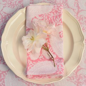 Pink Paisley napkins Block & Dye