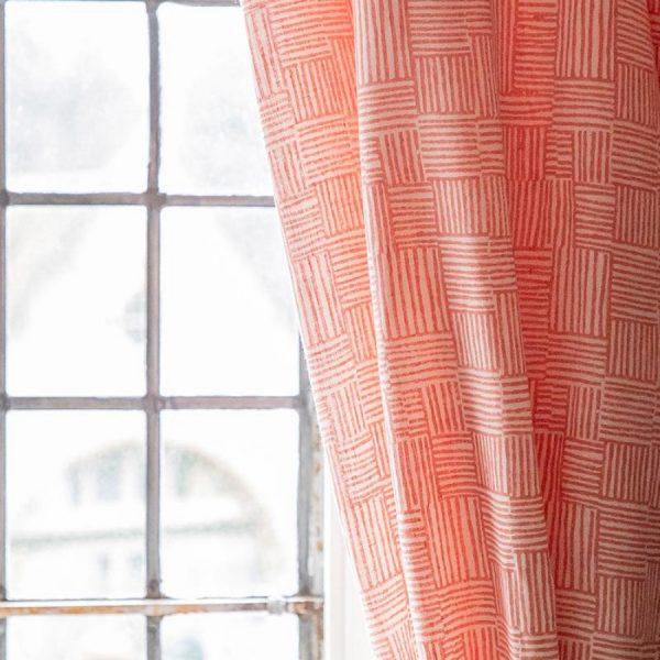 Birdie Fortescue Mishran Crosshatch fabric coral