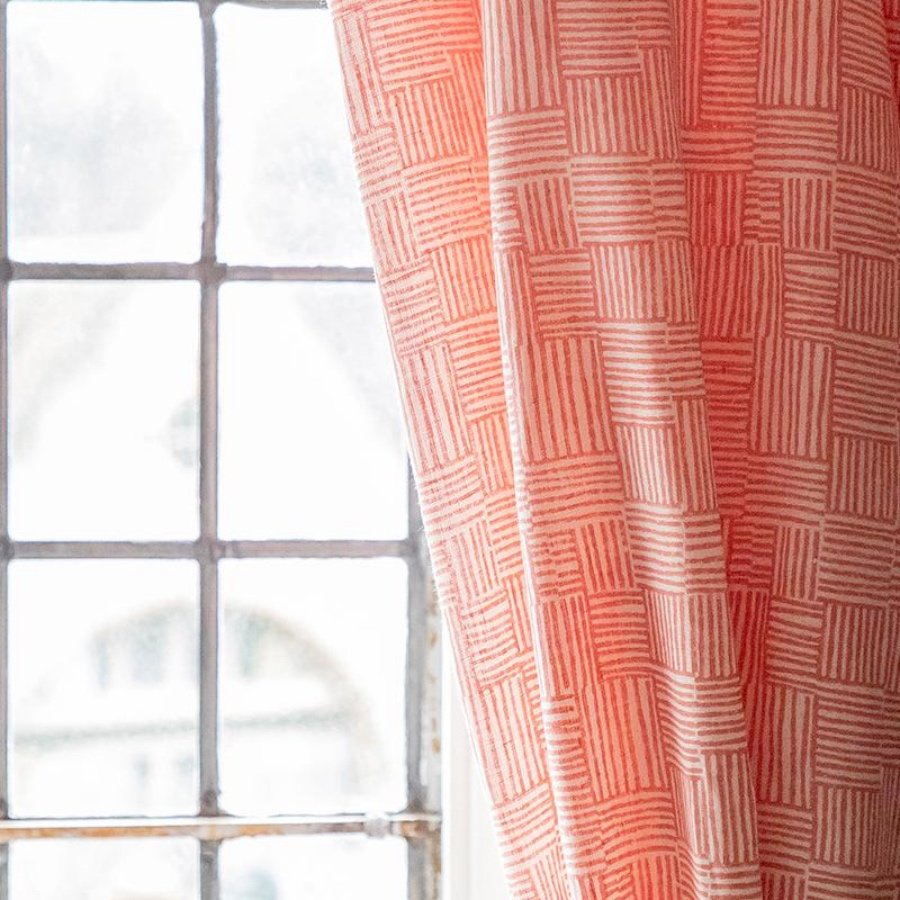 Birdie Fortescue Mishran Crosshatch fabric coral