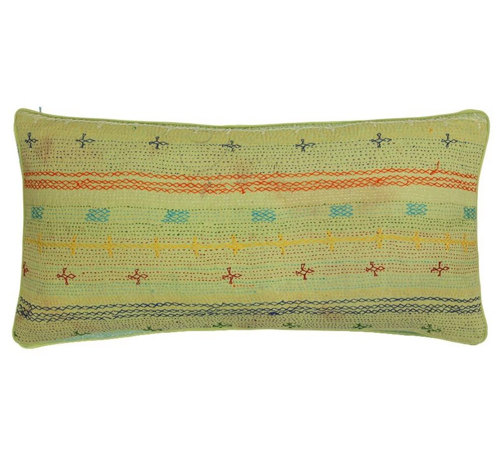 Birdie Fortescue Limited Edition Kantha Cushion - Lime