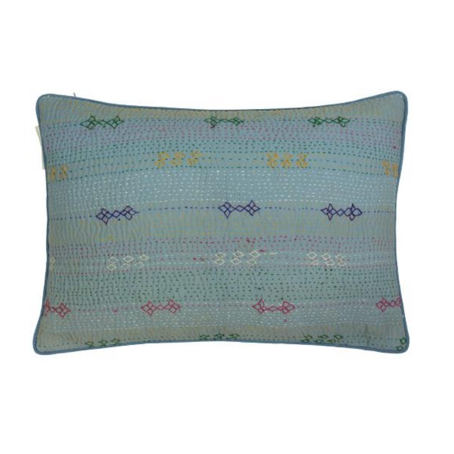 These fabulous cushions are made from original Kantha throws from Pakistan which have been over-dyed and over-printed. Finished with a soft, cotton velvet back and contrast piping