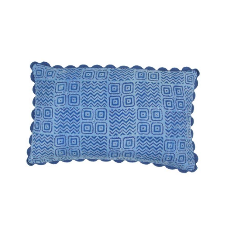 Birdie Fortescue Mishran blue kanthawork cushion geometric