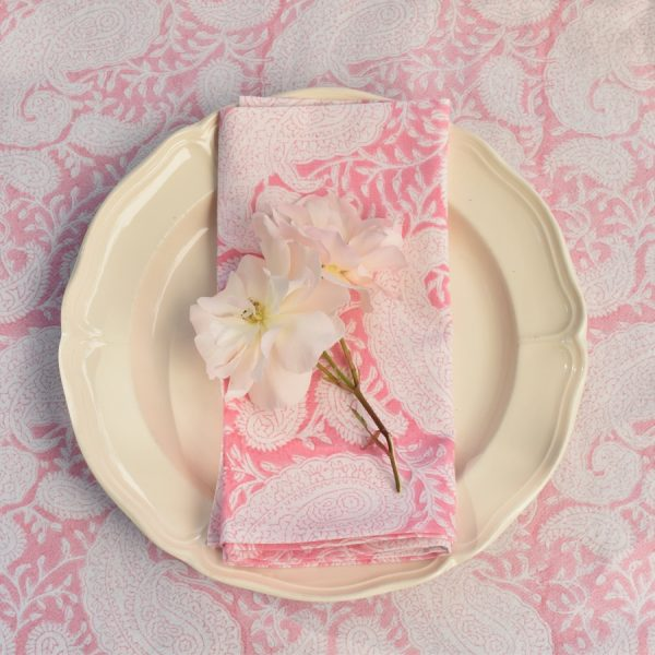 Pink Paisley block print tablecloth Block & Dye