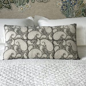 Grey Pukka Paisley cushion by Block & Dye