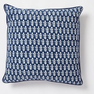 Bagru square Cushion by Molly Mahon - Dark Blue