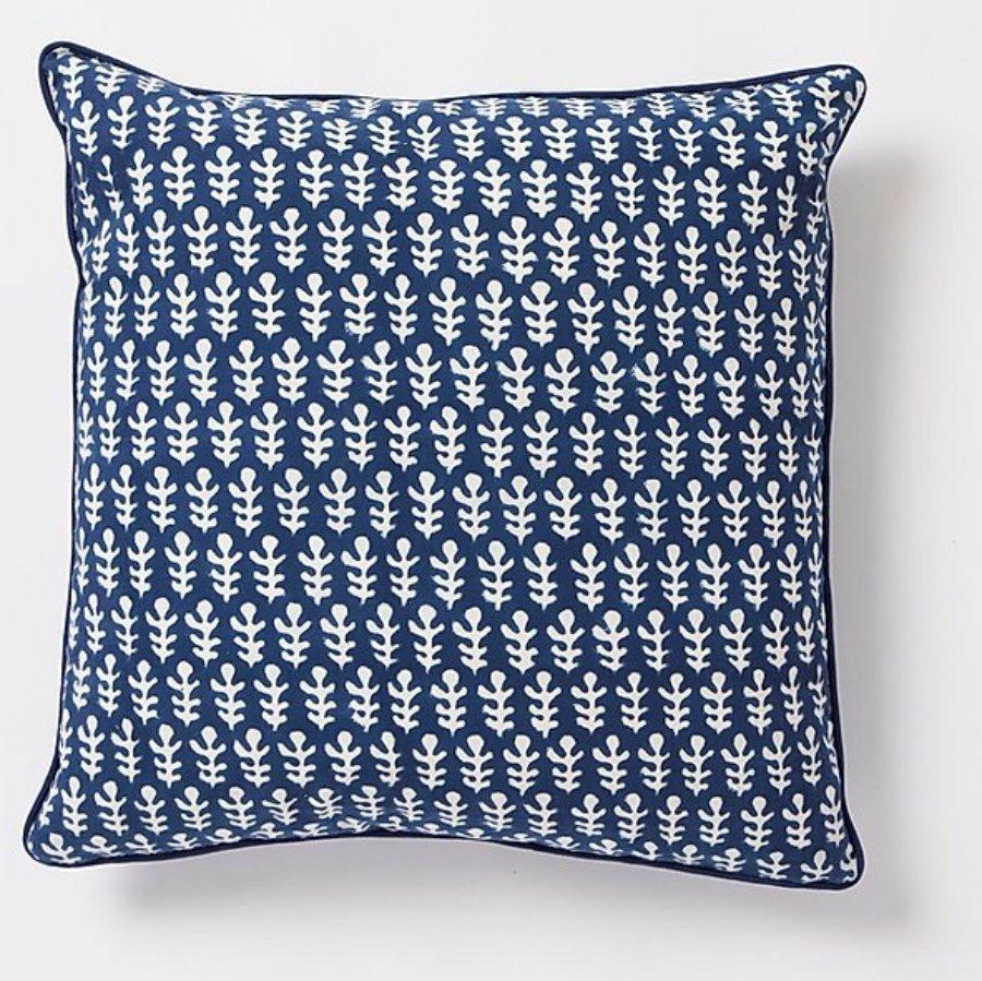 Bagru square Cushion by Molly Mahon - Dark Blue