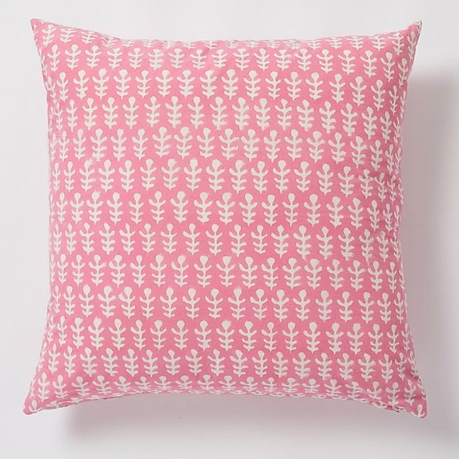 Bagru square Cushion by Molly Mahon - Pink