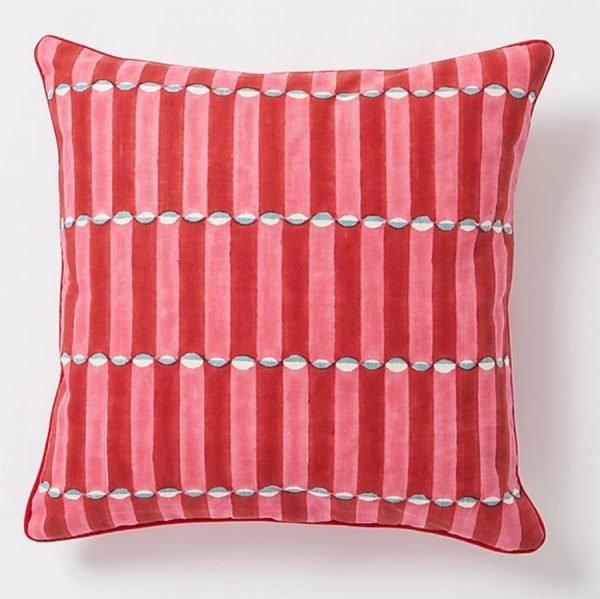 Luna square Cushion by Molly Mahon - Pink and Red