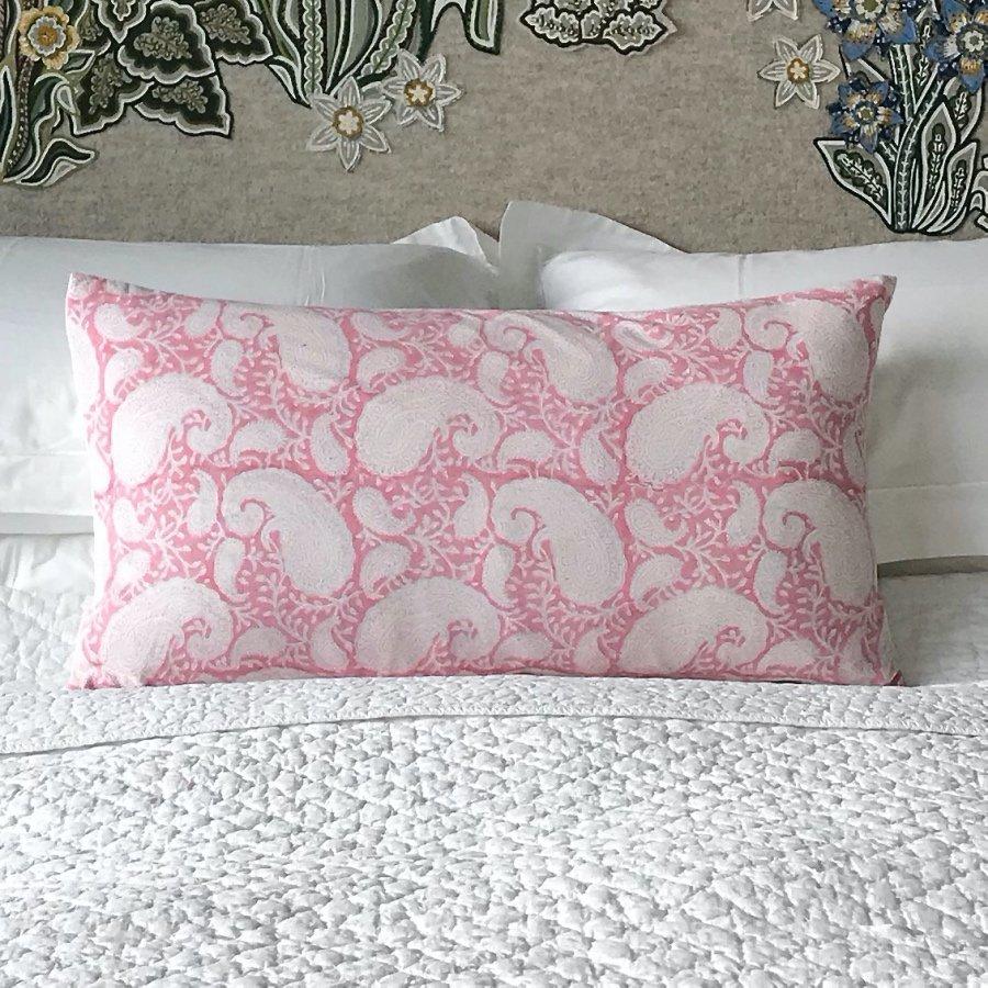 Pink Pukka Paisley cushion by Block & Dye