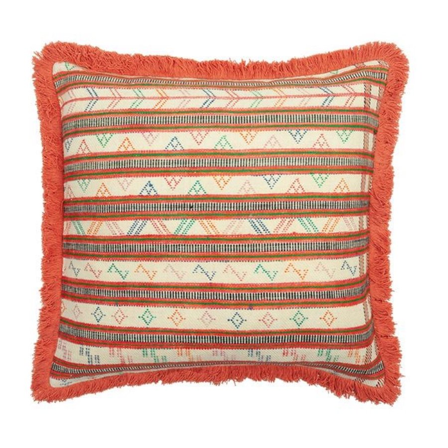 Birdie Fortescue Striped Wool Khadi Cushion - Square Sea Coral Fringe