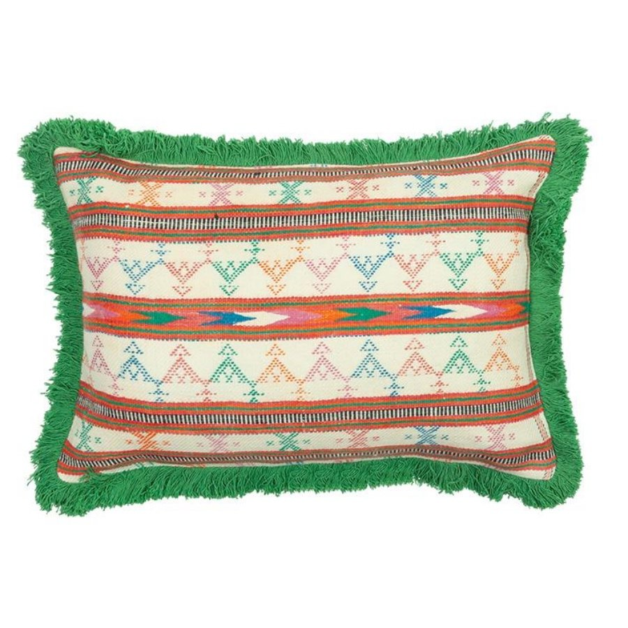 Striped Wool green Khadi Cushion by Birdie Fortescue - Rectangle Vetiver Fringe