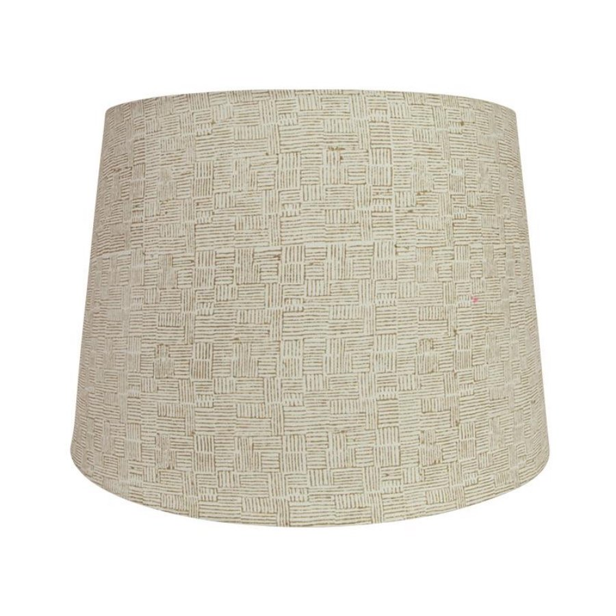 Crosshatch Block Printed Lampshade by Birdie Fortescue - Taupe