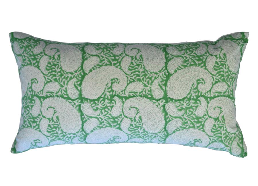 Green long block print cushion