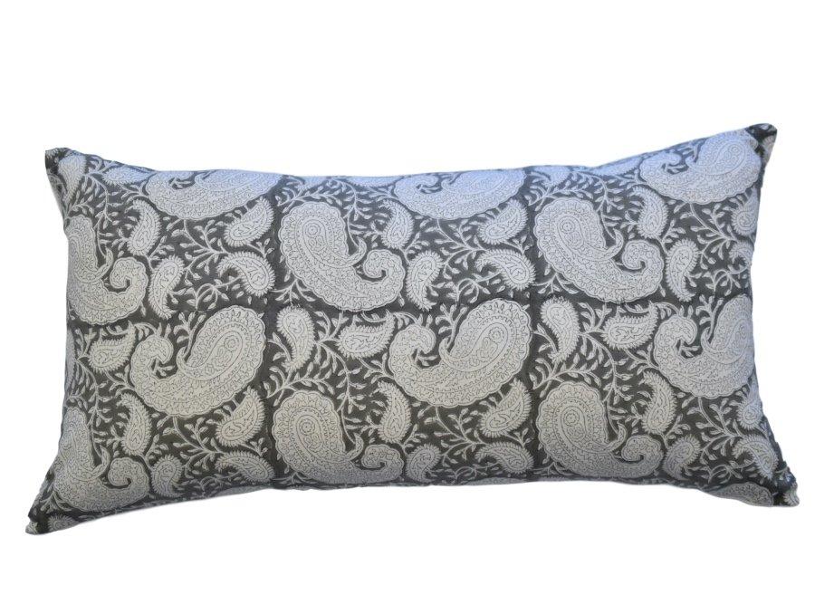 Grey Pukka Paisley cushion Block & Dye